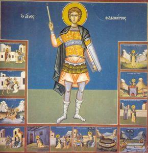 Фреска од свети Фануриј, направена според древната икона, на која се насликани дванаесет сцени од мачеништвото на светителот